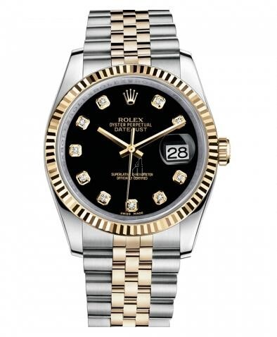 Fake Rolex Datejust 36mm Steel and Yellow Gold Black Dial 116233 BKDJ.