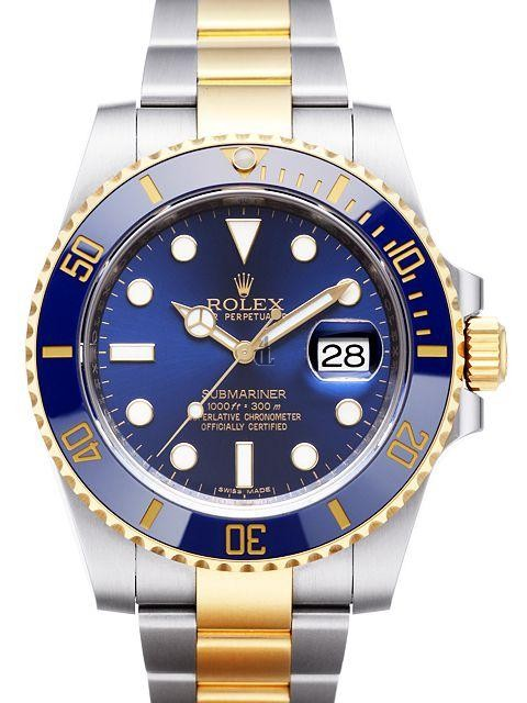 Fake Rolex Submariner Steel and Gold Blue Dial 116613LB.
