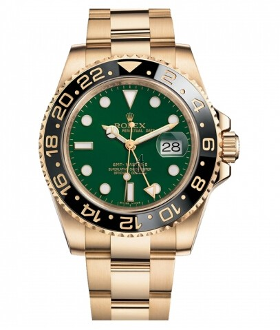 Fake Rolex GMT Master II Yellow Gold Green Dial 116718 G.