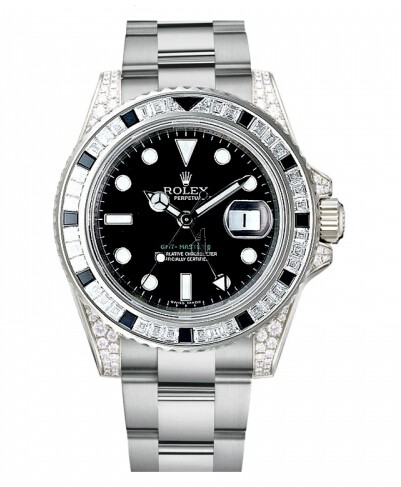 Fake Rolex GMT Master II White Gold Black Dial 116759 SANR.