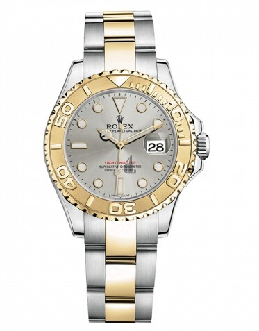 Fake Rolex Yacht-Master Stainless Steel Gray dial Ladies Watch 169623 G.