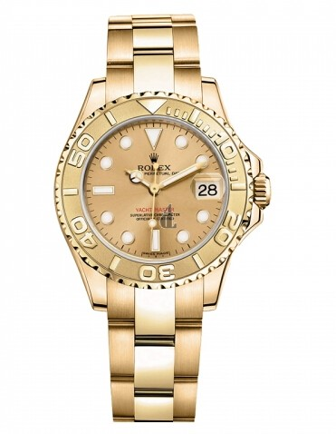 Fake Rolex Yacht-Master Yellow Gold Champagne dial Ladies Watch 169628 CH.