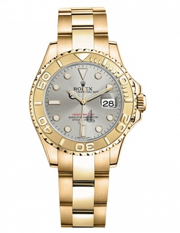 Fake Rolex Yacht-Master Yellow Gold Gray dial Ladies Watch 169628 G.