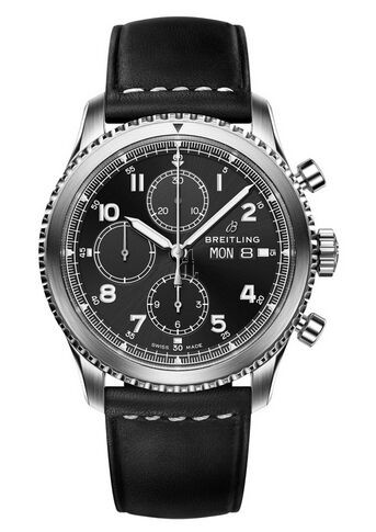 Breitling Navitimer 8 Chronograph Black Dial Leather Strap A13314101B1X1