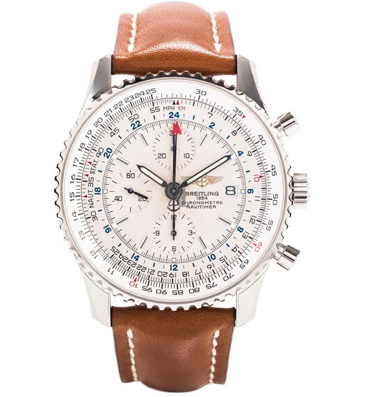 Breitling Navitimer World Silver Dial Mens Watch A2432212/G571/439X  replica.
