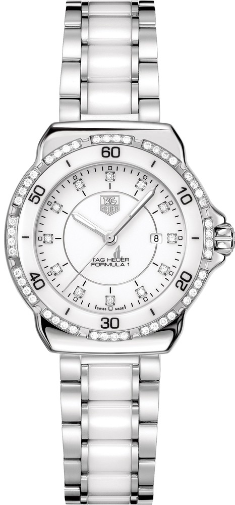 Replica Tag Heuer Formula 1 Diamonds Ladies White Ceramic & Steel Watch WAH1313.BA0868