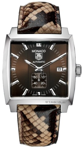 Replica Tag Heuer Monaco Brown Python Steel Mens Watch WW2115.FC6217