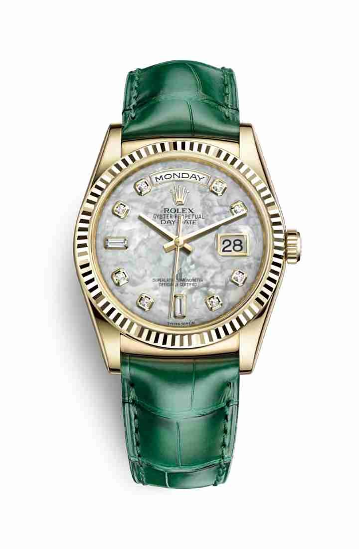 Rolex Day-Date 36 yellow gold 118138 White mother-of-pearl set diamonds Dial