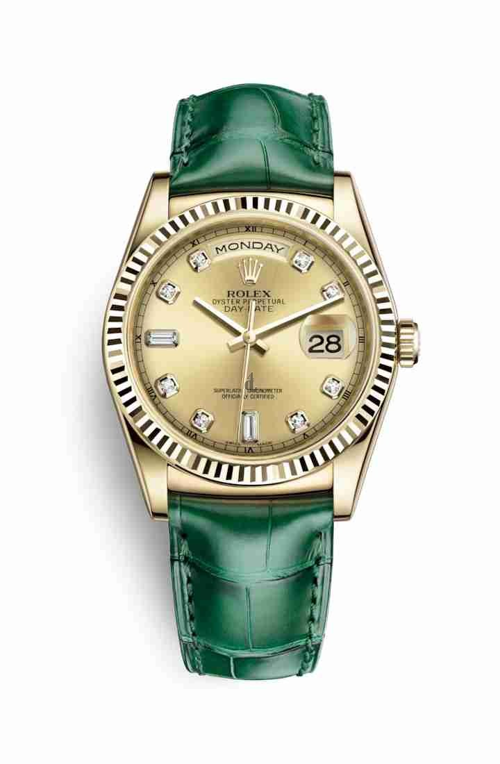 Rolex Day-Date 36 yellow gold 118138 Champagne-colour set diamonds Dial