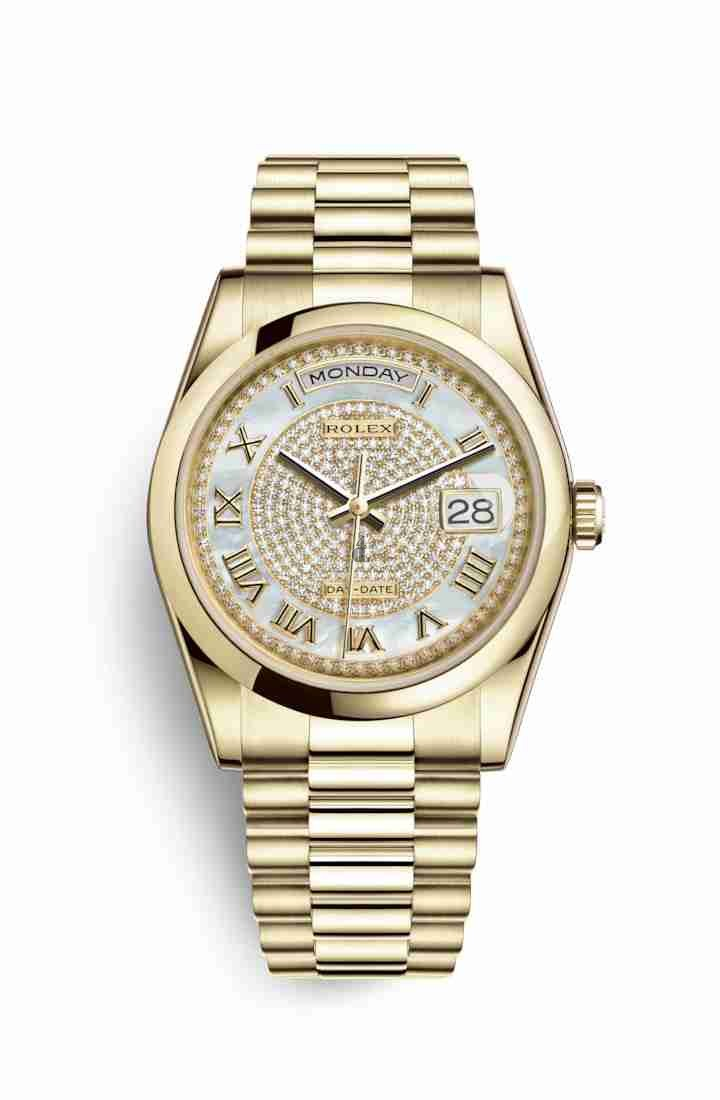 Rolex Day-Date 36 yellow gold 118208 White mother-of-pearl diamond paved Dial