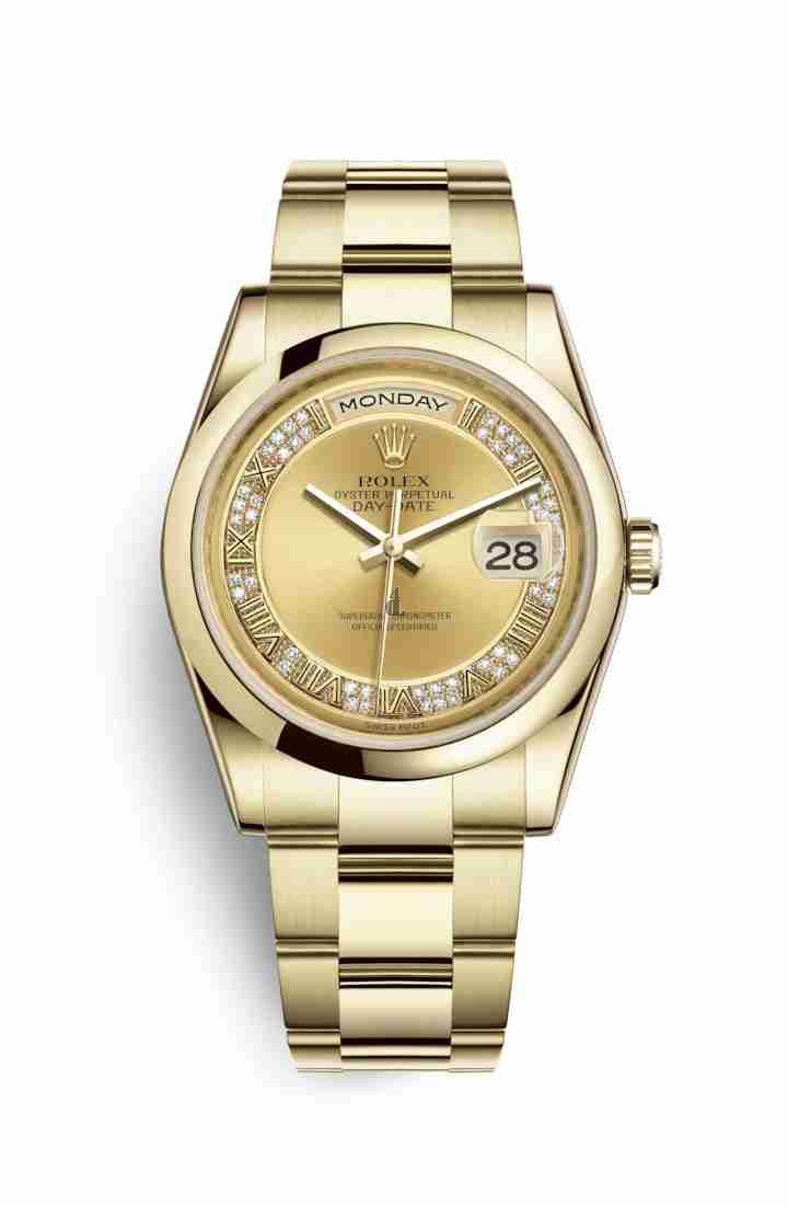 Rolex Day-Date 36 yellow gold 118208 Champagne-colour set diamonds Dial