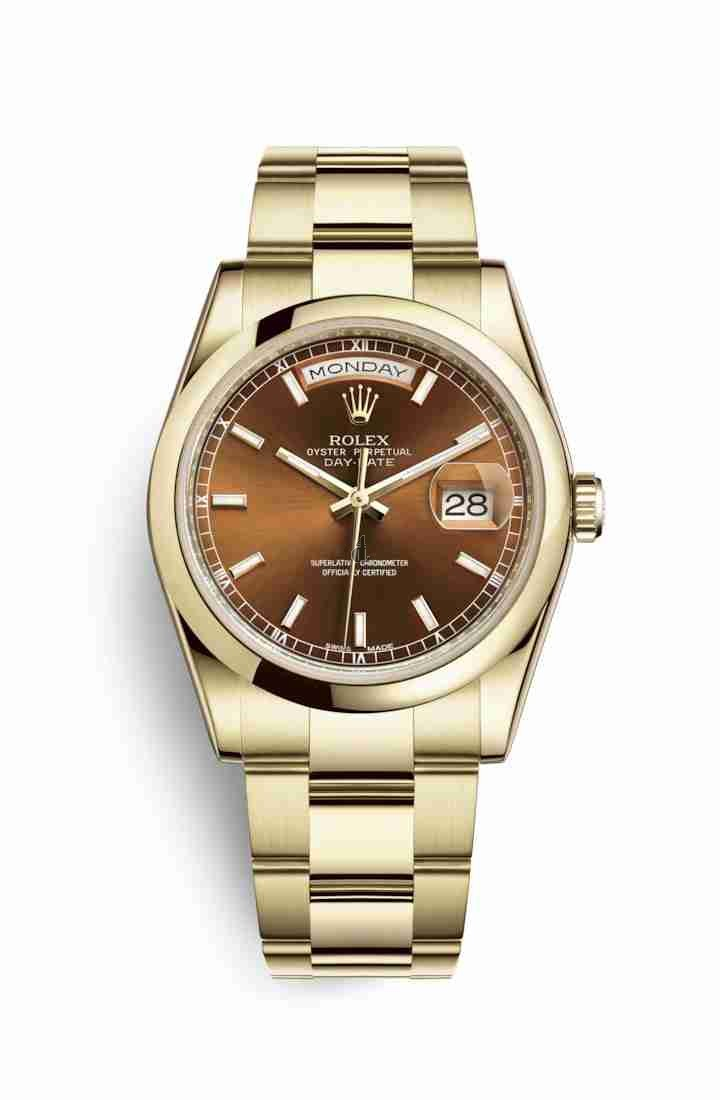 Rolex Day-Date 36 yellow gold 118208 Cognac Dial