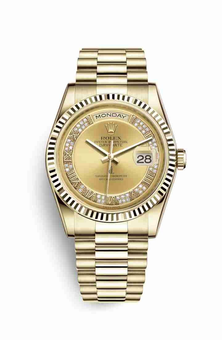 Rolex Day-Date 36 yellow gold 118238 Champagne-colour set diamonds Dial