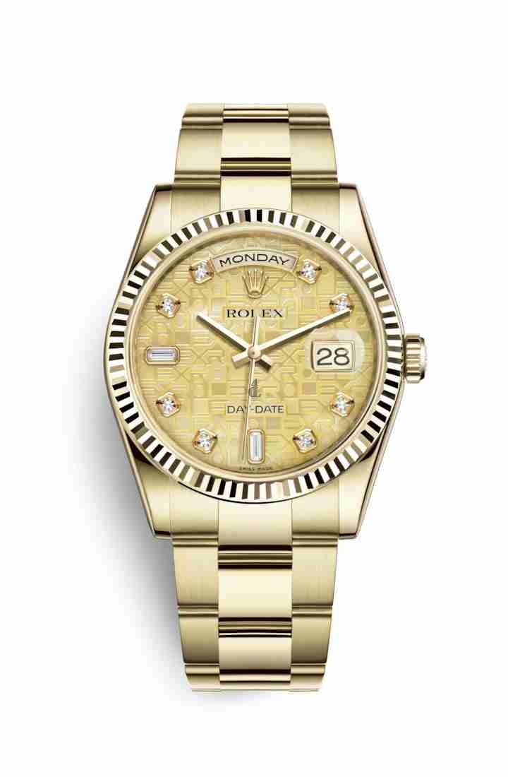 Rolex Day-Date 36 yellow gold 118238 Champagne-colour mother-of-pearl Jubilee design set diamonds Dial