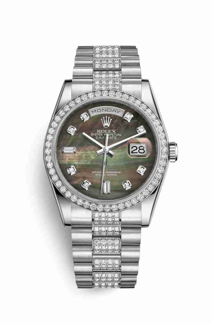 Rolex Day-Date 36 Platinum 118346 Black mother-of-pearl set diamonds Dial