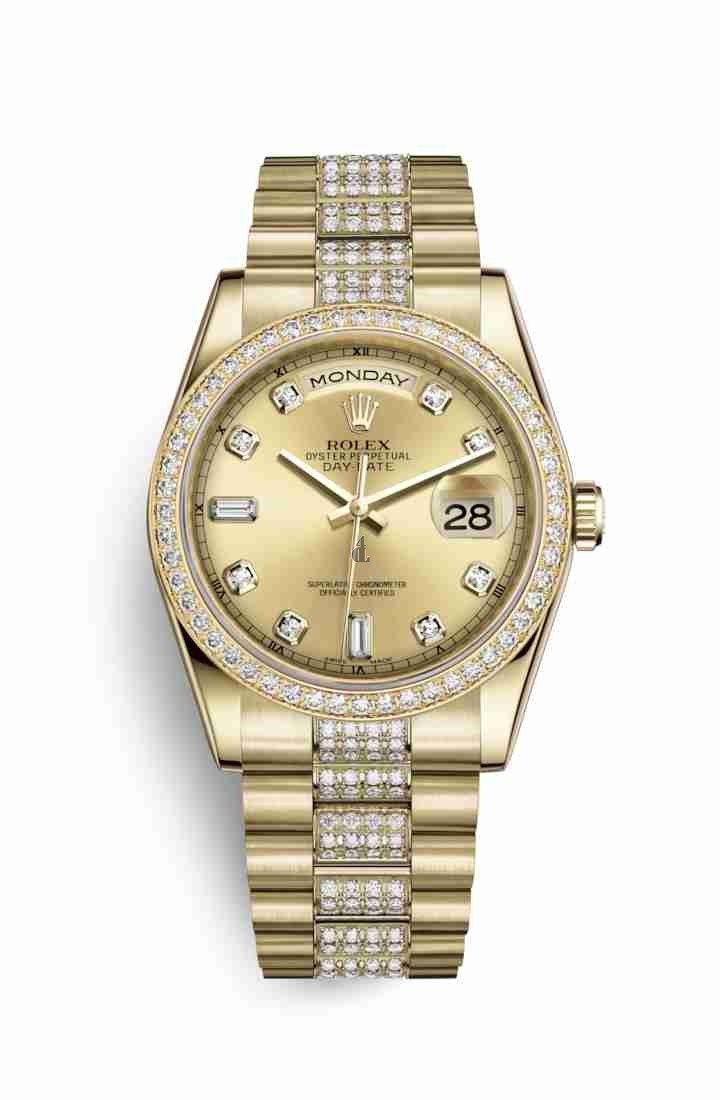 Rolex Day-Date 36 yellow gold 118348 Champagne-colour set diamonds Dial