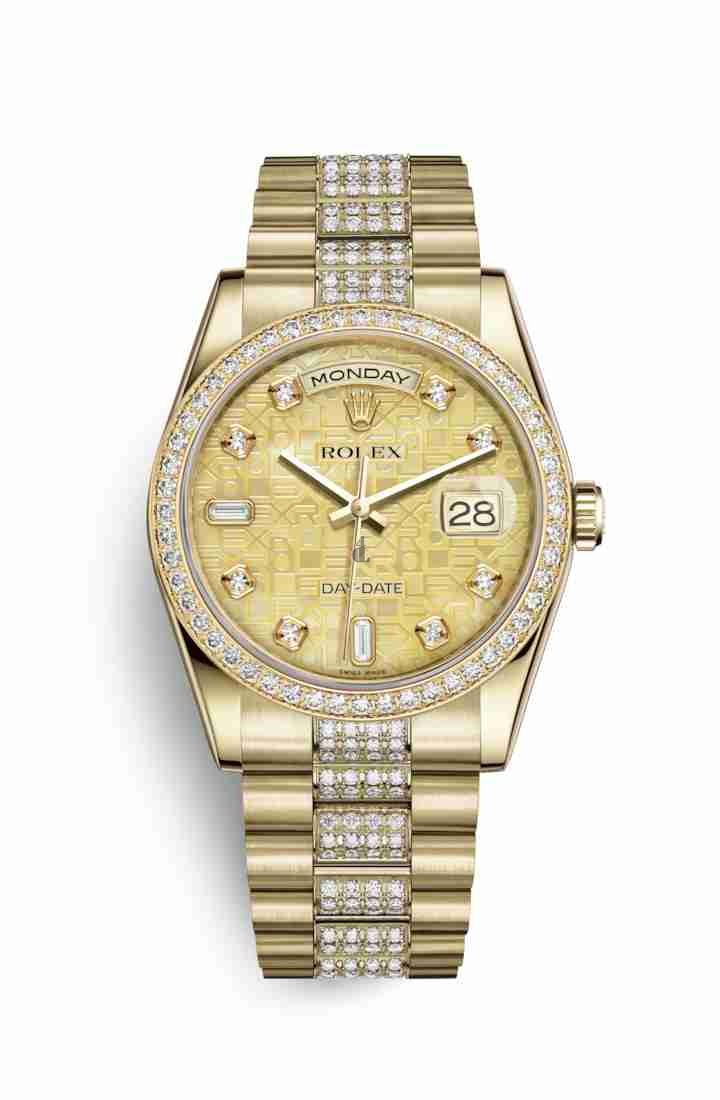 Rolex Day-Date 36 yellow gold 118348 Champagne-colour mother-of-pearl Jubilee design set diamonds Dial