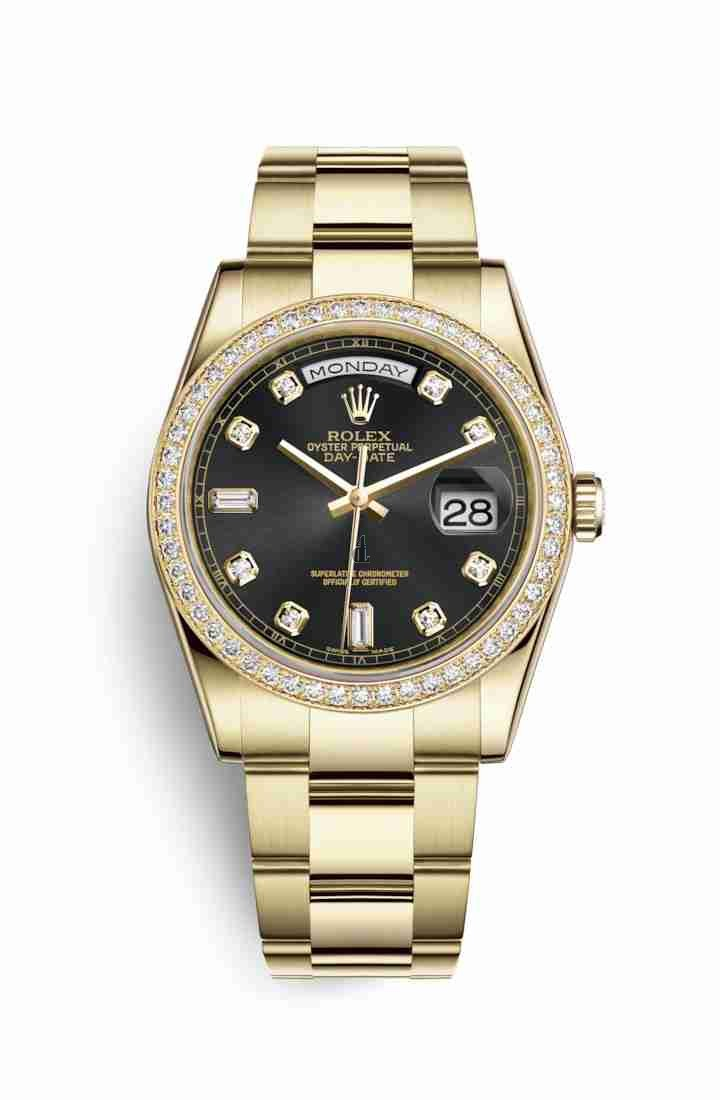 Rolex Day-Date 36 yellow gold 118348 Black set diamonds Dial