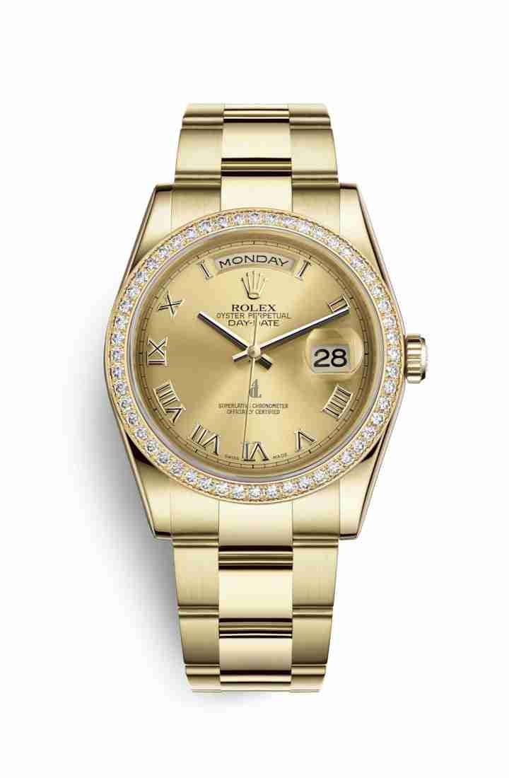 Rolex Day-Date 36 yellow gold 118348 Champagne-colour Dial