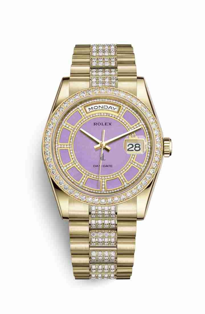 Rolex Day-Date 36 yellow gold 118348 Carousel of lavender jade Dial