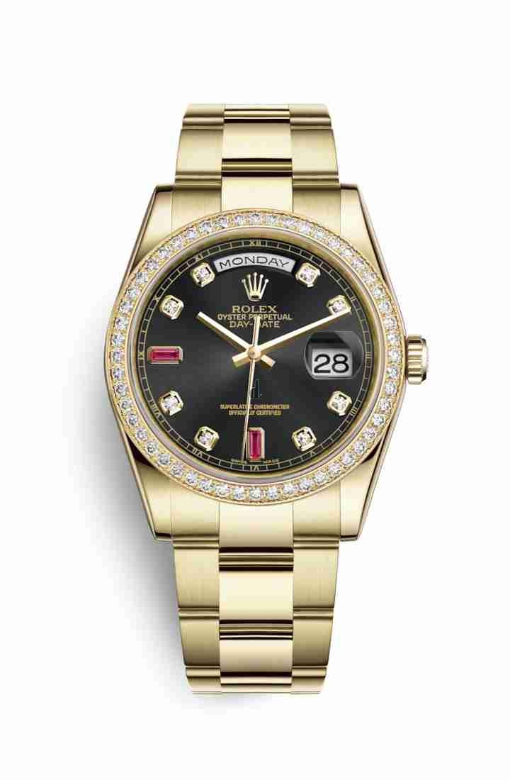 Rolex Day-Date 36 yellow gold 118348 Black set diamonds rubies Dial