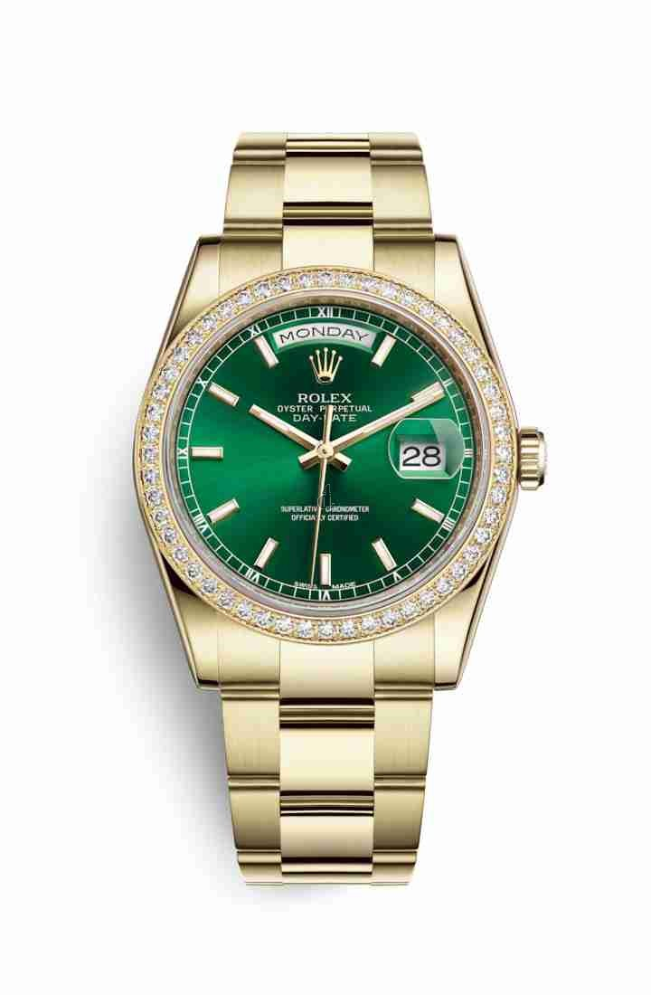 Rolex Day-Date 36 yellow gold 118348 Green Dial