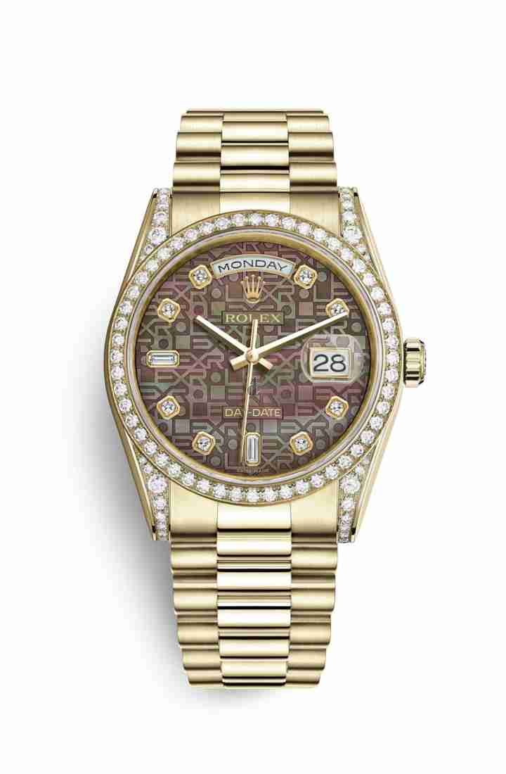 Rolex Day-Date 36 yellow gold lugs set diamonds 118388 Black mother-of-pearl Jubilee design set diamonds Dial