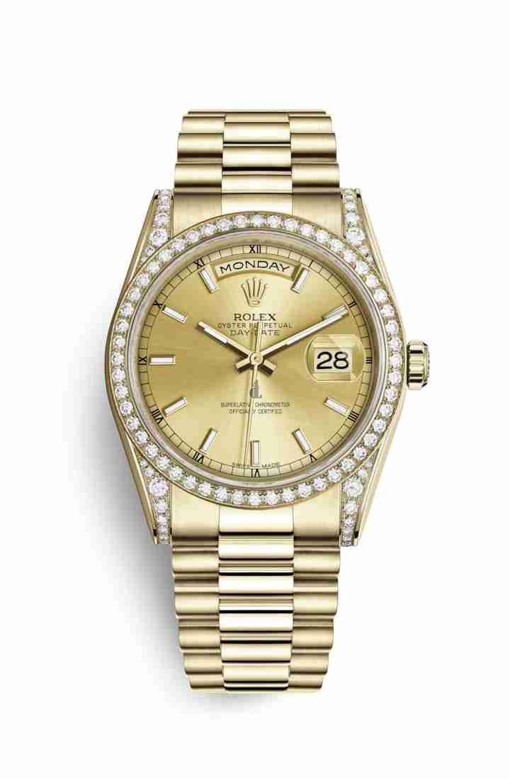 Rolex Day-Date 36 yellow gold lugs set diamonds 118388 Champagne-colour Dial
