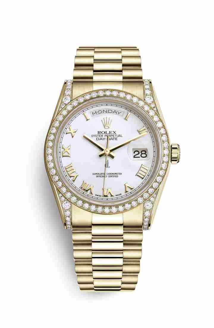 Rolex Day-Date 36 yellow gold lugs set diamonds 118388 White Dial