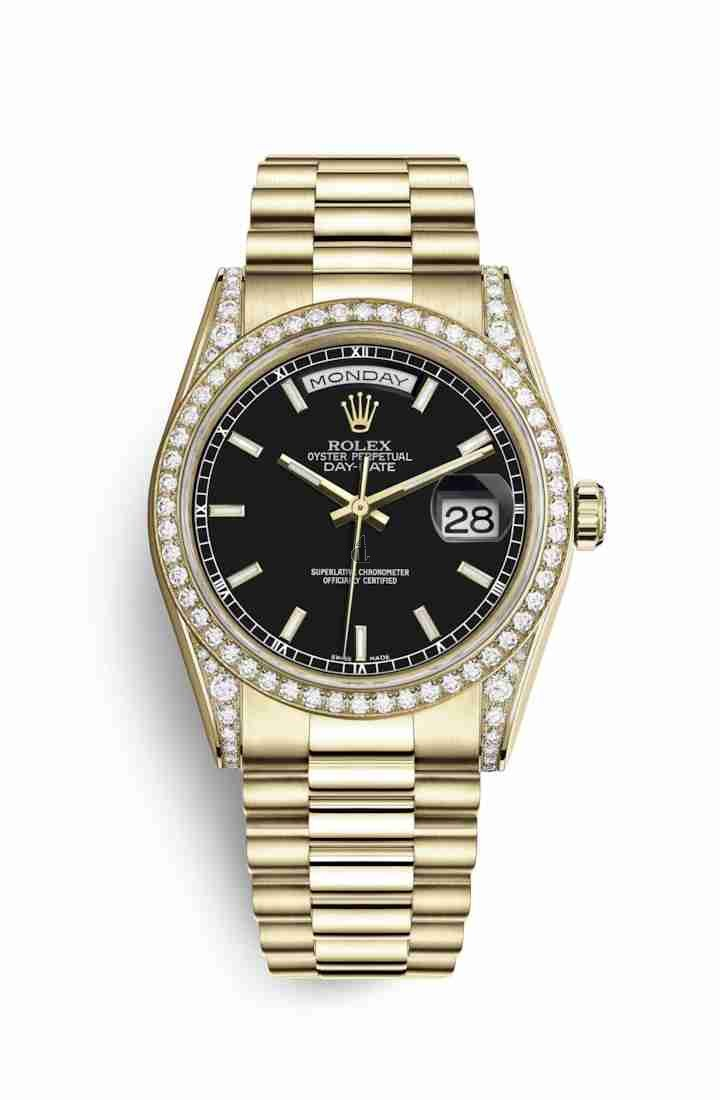 Rolex Day-Date 36 yellow gold lugs set diamonds 118388 Black Dial