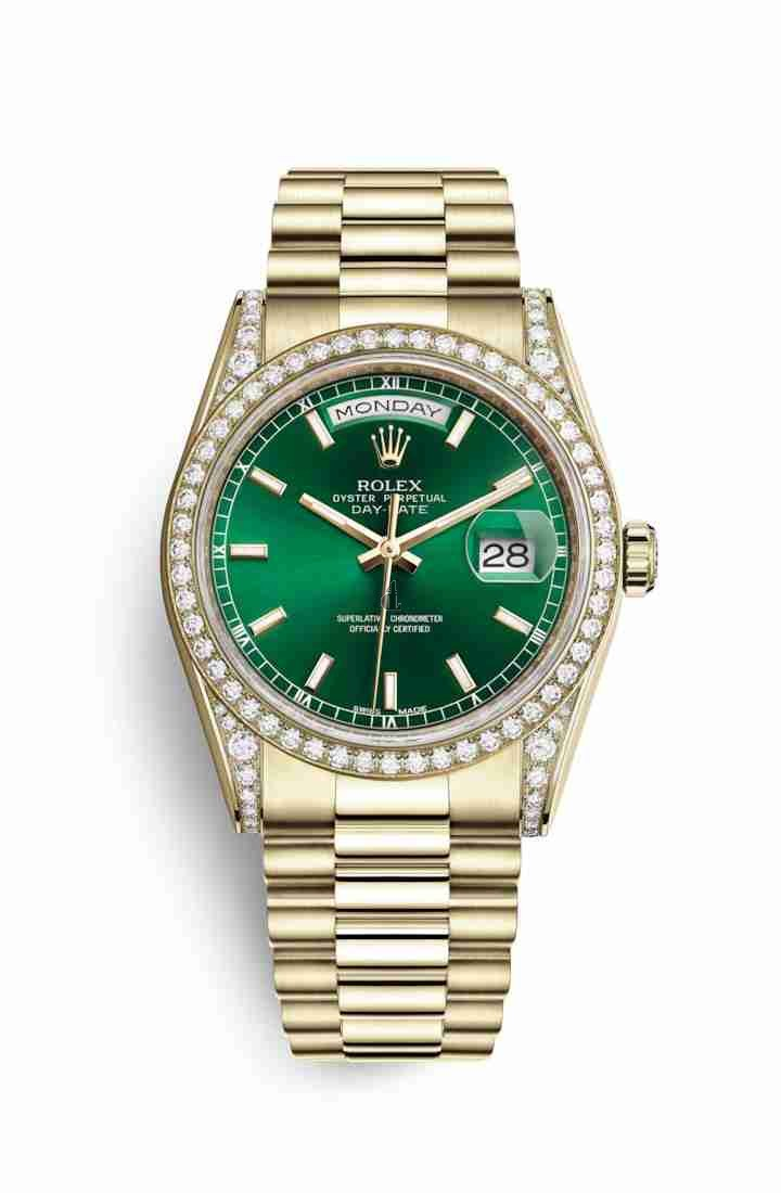 Rolex Day-Date 36 yellow gold lugs set diamonds 118388 Green Dial