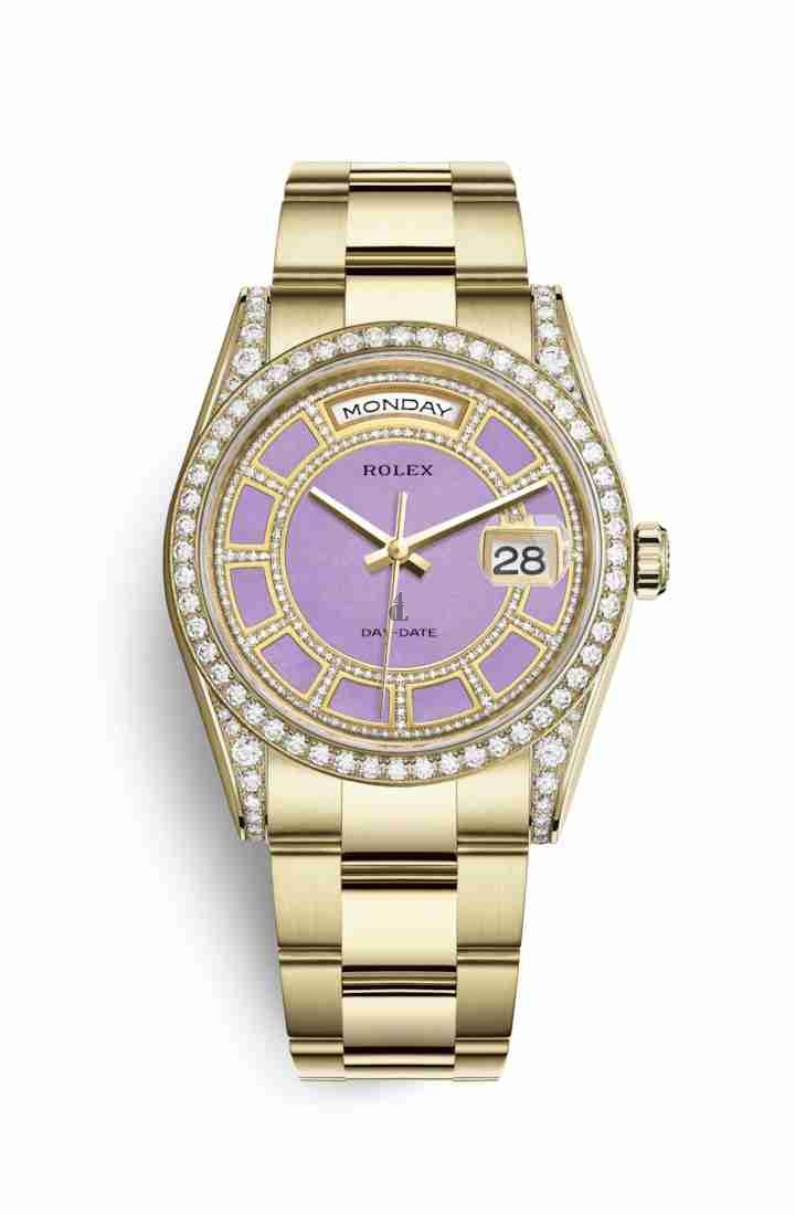 Rolex Day-Date 36 yellow gold lugs set diamonds 118388 Carousel of lavender jade Dial
