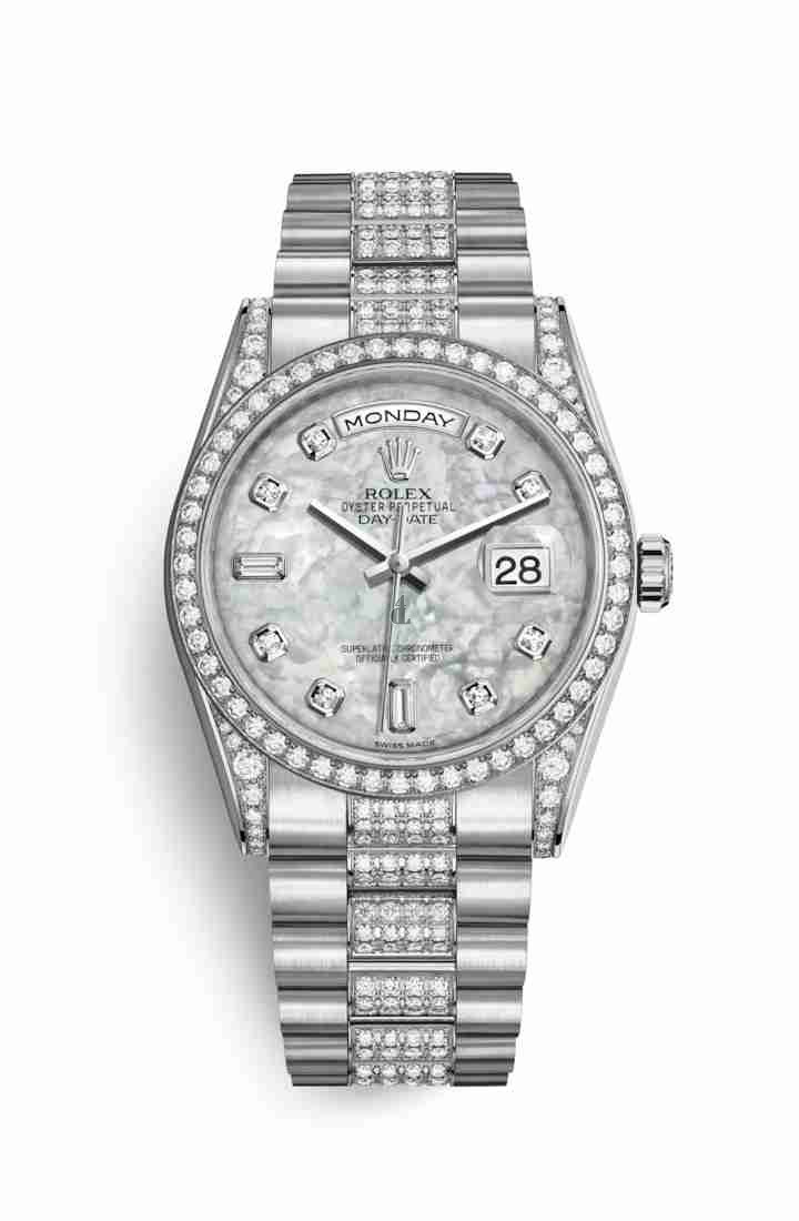 Rolex Day-Date 36 white gold lugs set diamonds 118389 White mother-of-pearl set diamonds Dial
