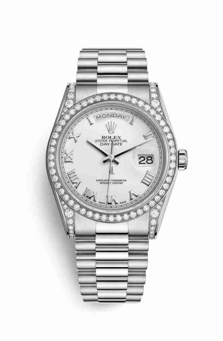 Rolex Day-Date 36 white gold lugs set diamonds 118389 White Dial