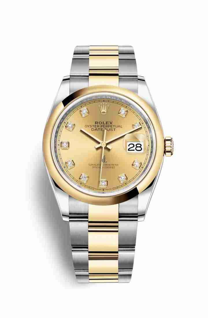 Rolex Datejust 36 Yellow Rolesor Oystersteel yellow gold 126203 Champagne-colour set diamonds Dial