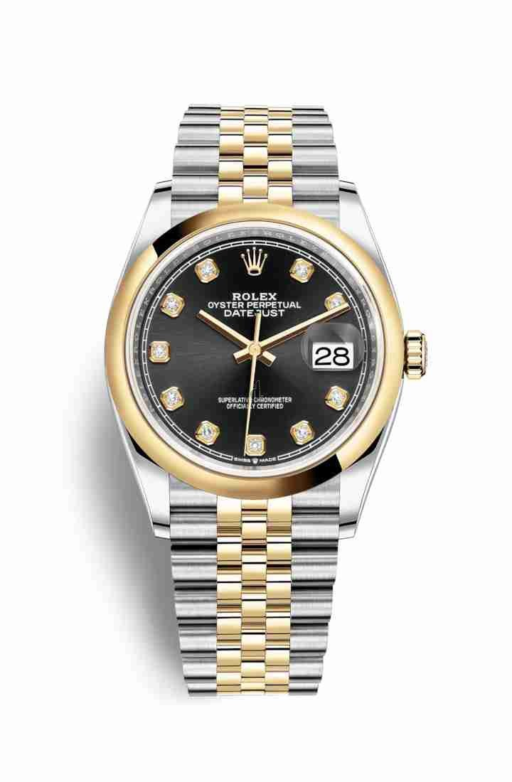 Rolex Datejust 36 Yellow Rolesor Oystersteel yellow gold 126203 Black set diamonds Dial