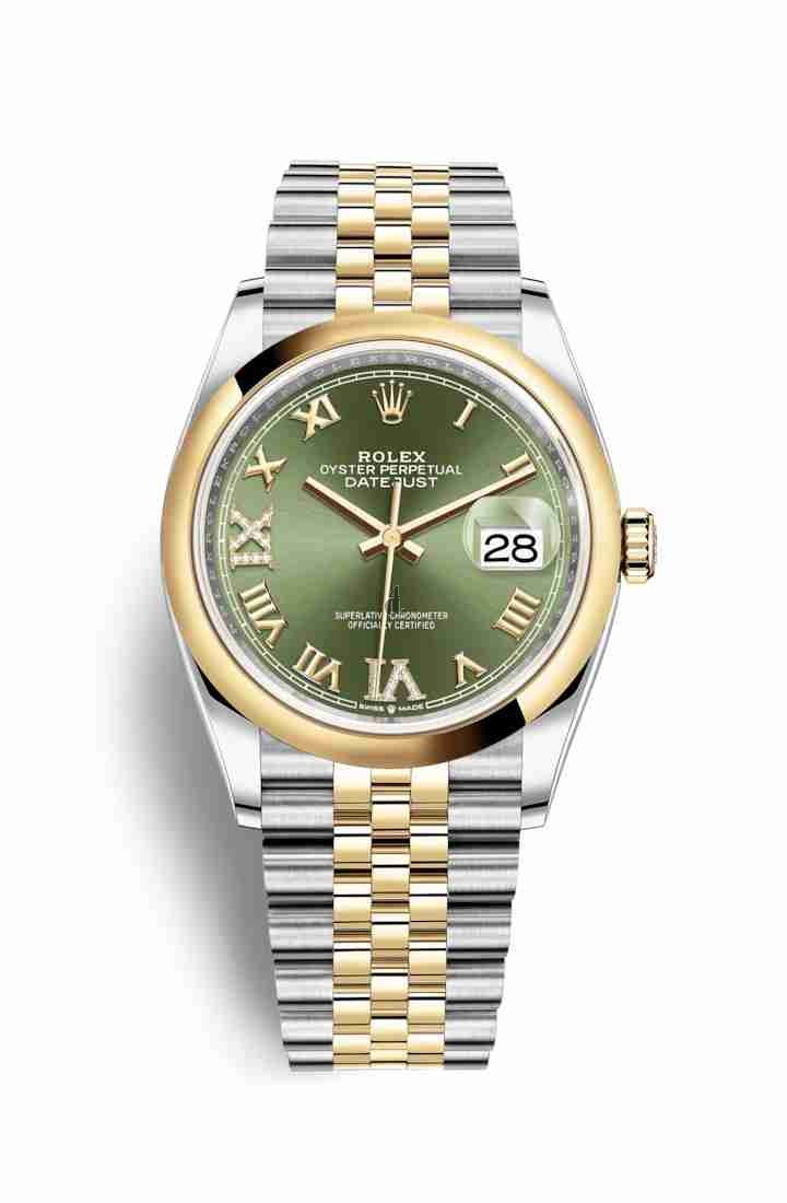 Rolex Datejust 36 Yellow Rolesor Oystersteel yellow gold 126203 Olive green set diamonds Dial