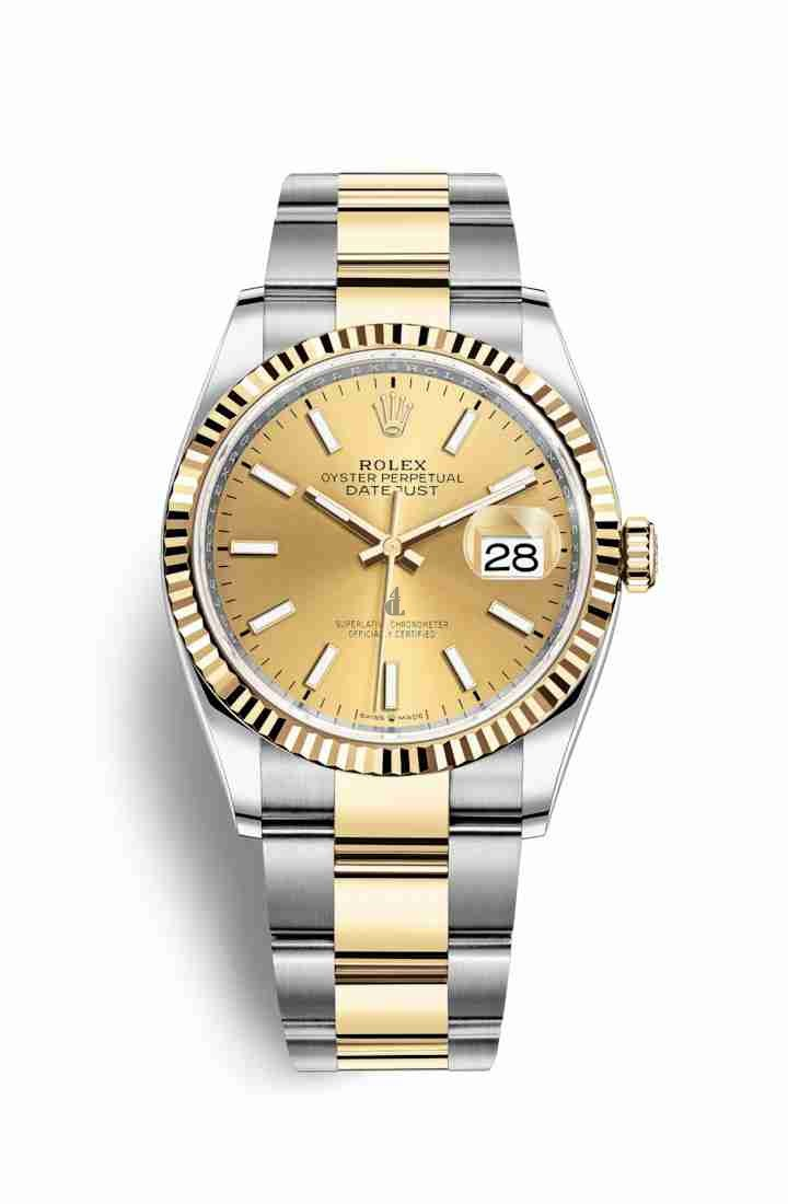 Rolex Datejust 36 Yellow Rolesor Oystersteel yellow gold 126233 Champagne-colour Dial