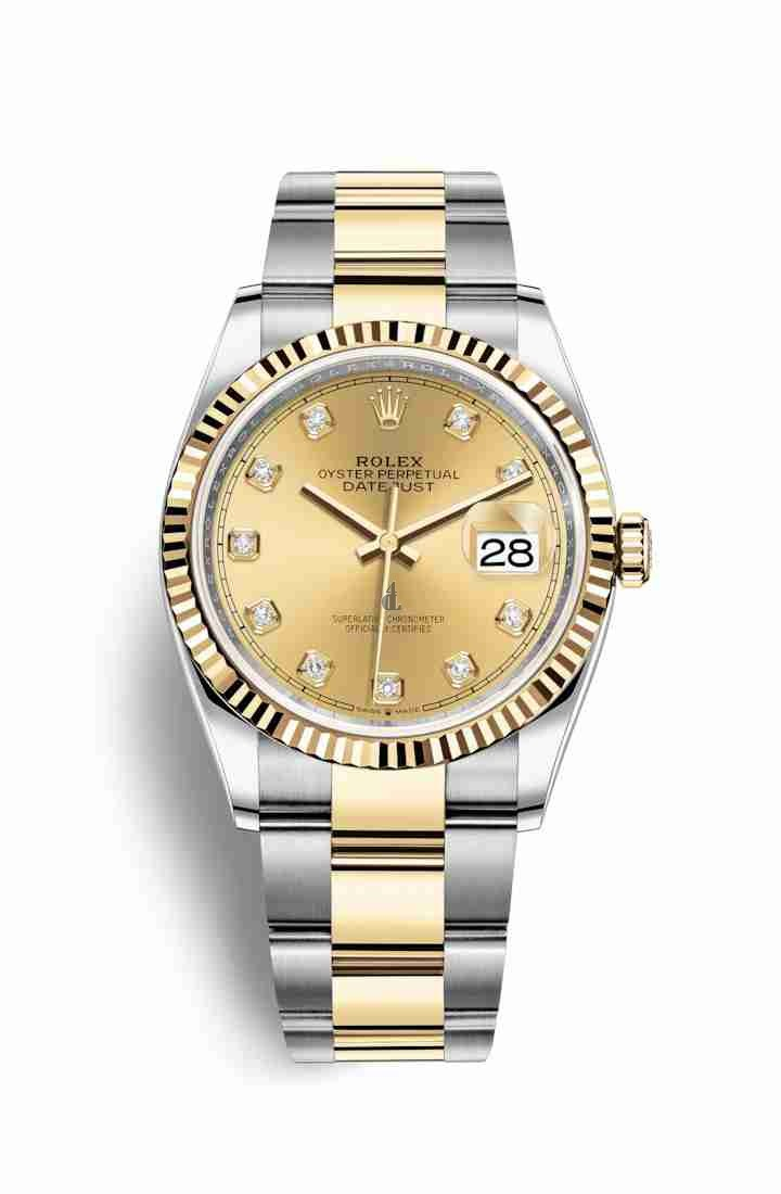 Rolex Datejust 36 Yellow Rolesor Oystersteel yellow gold 126233 Champagne-colour set diamonds Dial