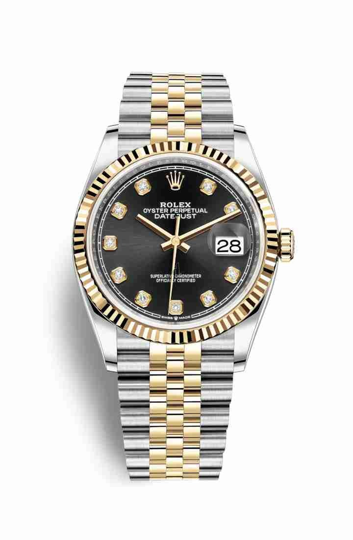 Rolex Datejust 36 Yellow Rolesor Oystersteel yellow gold 126233 Black set diamonds Dial