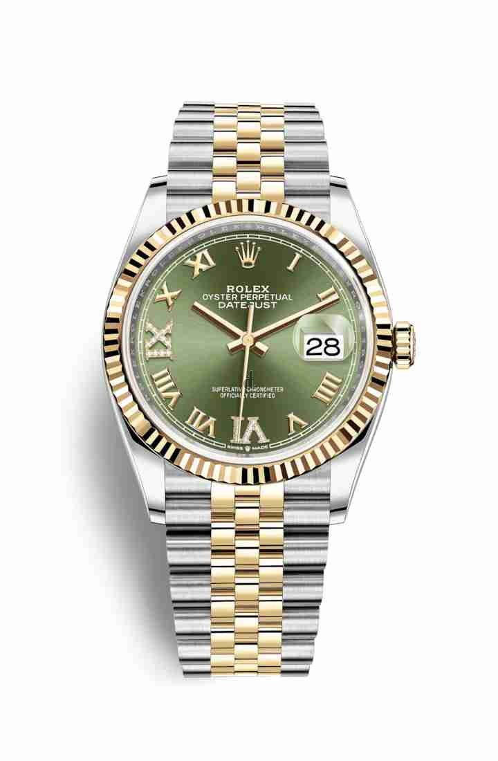 Rolex Datejust 36 Yellow Rolesor Oystersteel yellow gold 126233 Olive green set diamonds Dial