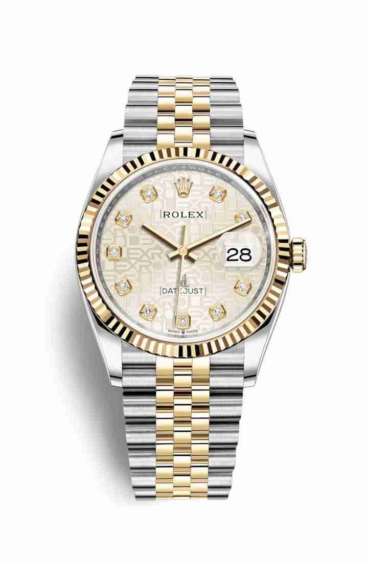 Rolex Datejust 36 Yellow Rolesor Oystersteel yellow gold 126233 Silver Jubilee design set diamonds Dial