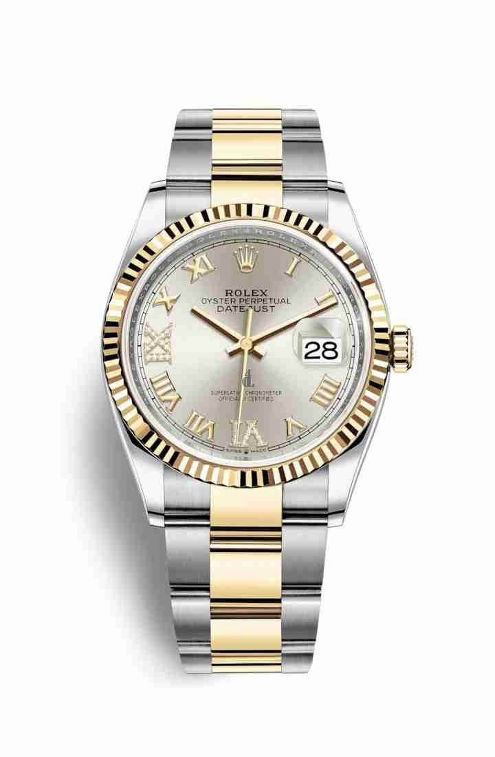 Rolex Datejust 36 Yellow Rolesor Oystersteel yellow gold 126233 Silver set diamonds Dial