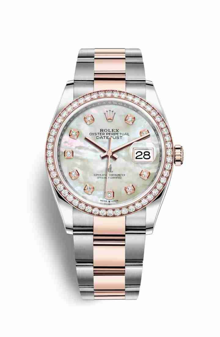 Rolex Datejust 36 Everose Rolesor Oystersteel Everose gold 126281RBR White mother-of-pearl set diamonds Dial