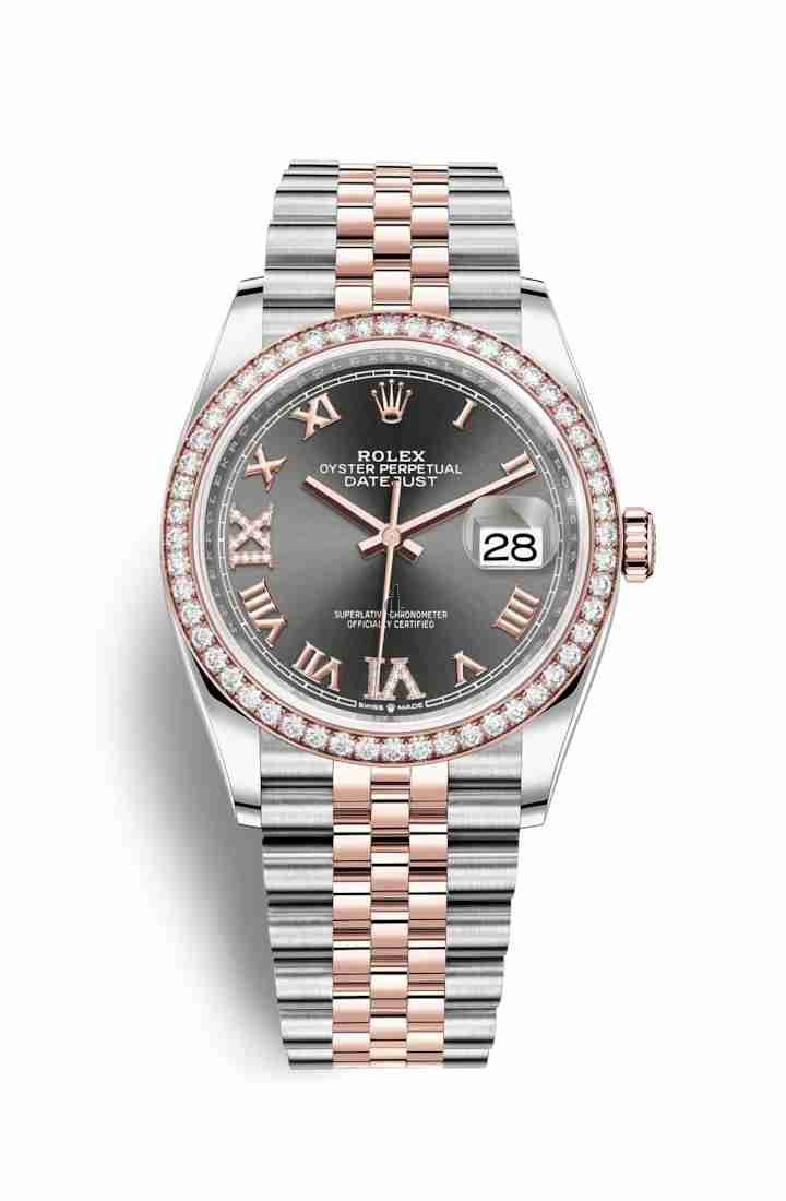 Rolex Datejust 36 Everose Rolesor Oystersteel Everose gold 126281RBR Dark rhodium set diamonds Dial