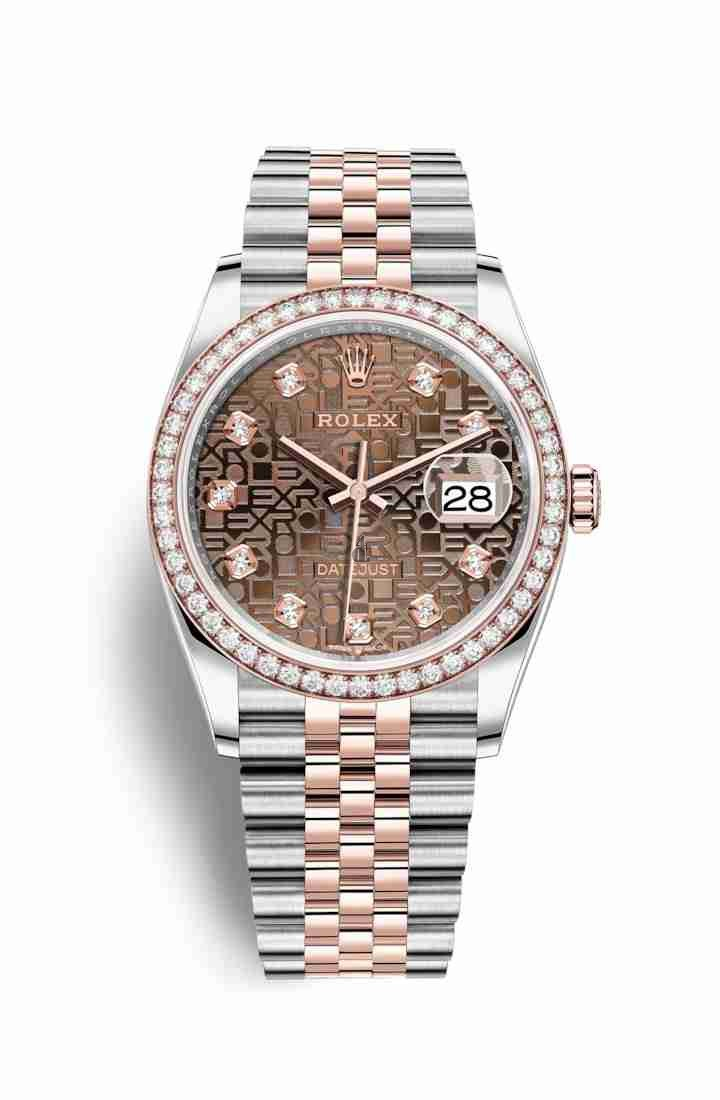 Rolex Datejust 36 Everose Rolesor Oystersteel Everose gold 126281RBR Chocolate Jubilee design set diamonds Dial