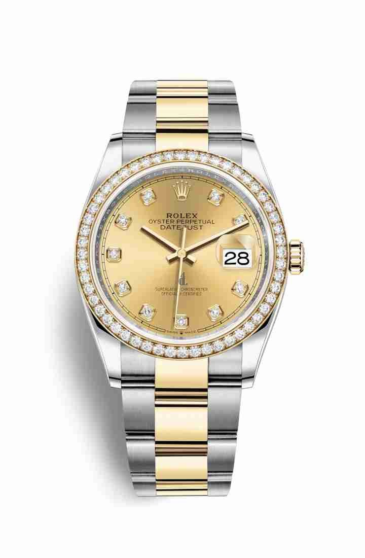 Rolex Datejust 36 Yellow Rolesor Oystersteel yellow gold 126283RBR Champagne-colour set diamonds Dial