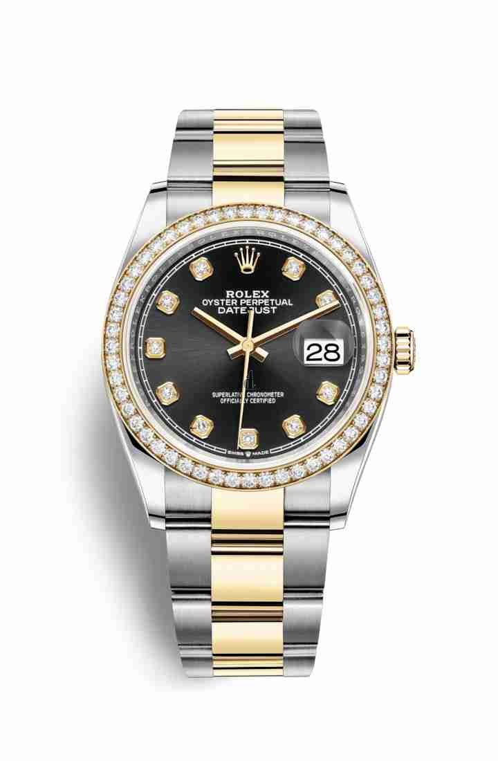 Rolex Datejust 36 Yellow Rolesor Oystersteel yellow gold 126283RBR Black set diamonds Dial