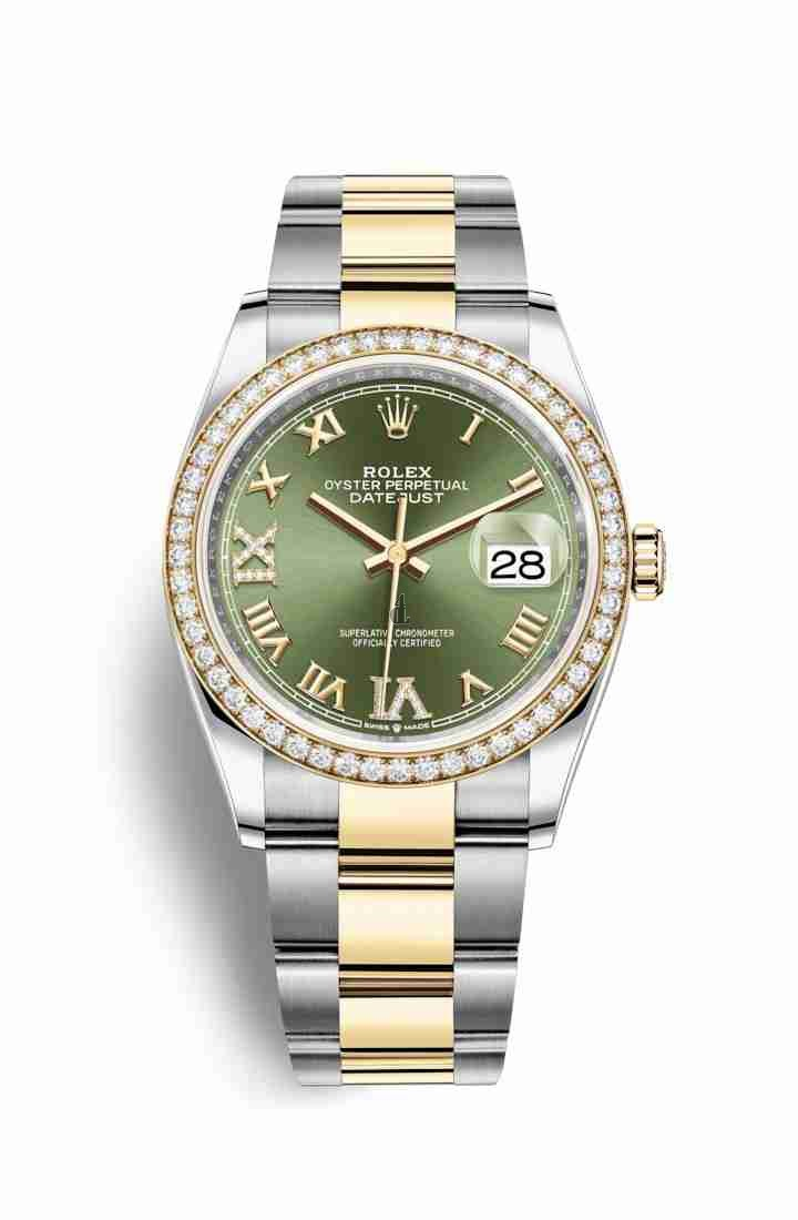 Rolex Datejust 36 Yellow Rolesor Oystersteel yellow gold 126283RBR Olive green set diamonds Dial