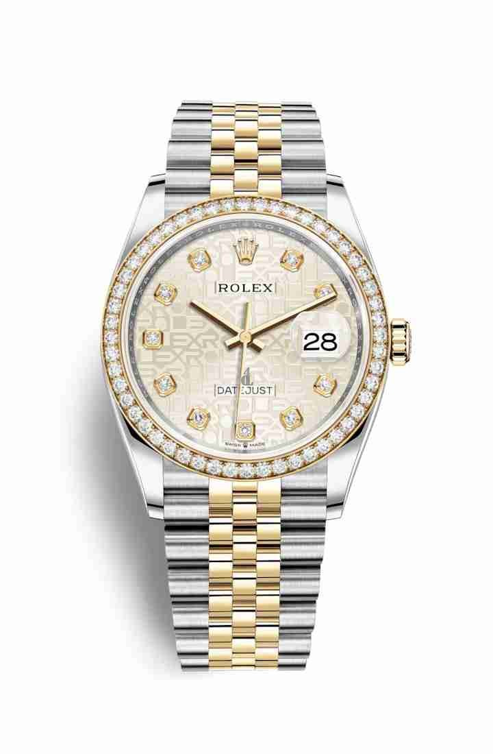Rolex Datejust 36 Yellow Rolesor Oystersteel yellow gold 126283RBR Silver Jubilee design set diamonds Dial